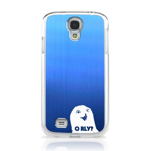 O RLY? - Geeks Designer Line Laser Series Blue Aluminum on Clear Case for Samsung Galaxy S4