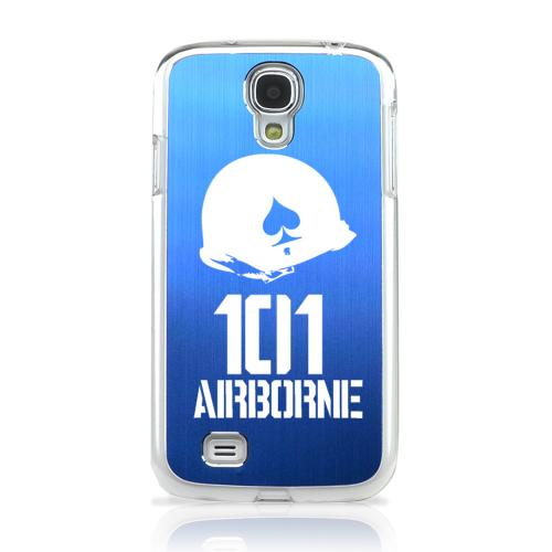 101st Airborne - Geeks Designer Line Laser Series Blue Aluminum on Clear Case for Samsung Galaxy S4