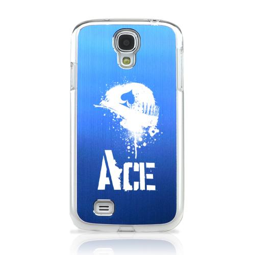 Ace Helmet - Geeks Designer Line Laser Series Blue Aluminum on Clear Case for Samsung Galaxy S4