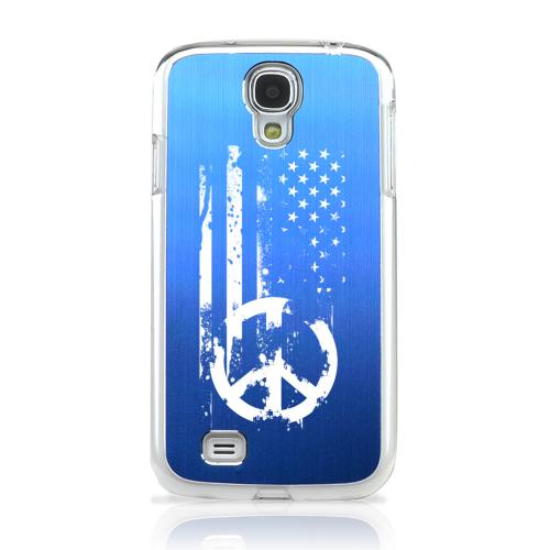 Grunge Flag - Geeks Designer Line Laser Series Blue Aluminum on Clear Case for Samsung Galaxy S4