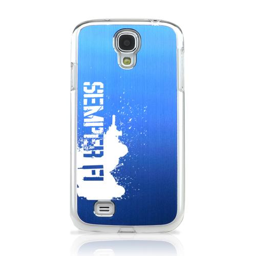 Marine - Geeks Designer Line Laser Series Blue Aluminum on Clear Case for Samsung Galaxy S4