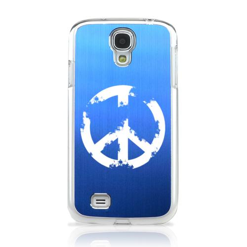 Grunge Peace Sign - Geeks Designer Line Laser Series Blue Aluminum on Clear Case for Samsung Galaxy S4