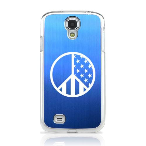 U.S. Peace Sign - Geeks Designer Line Laser Series Blue Aluminum on Clear Case for Samsung Galaxy S4