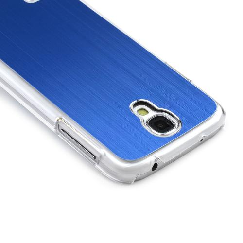 Blue Aluminum Back on Clear Hard Case for Samsung Galaxy S4