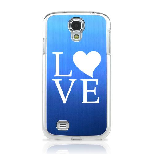 Love - Geeks Designer Line Laser Series Blue Aluminum on Clear Case for Samsung Galaxy S4