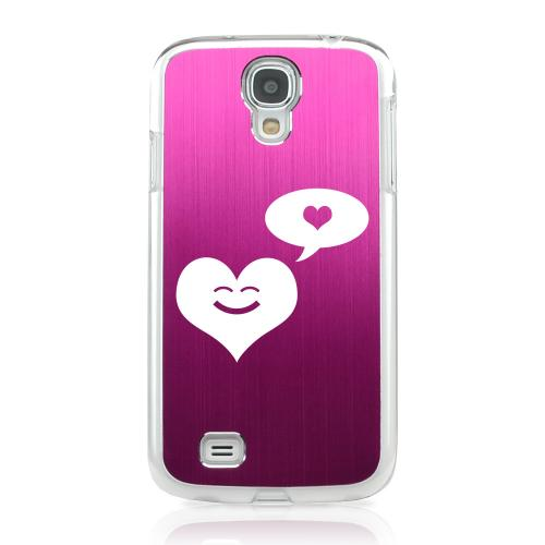 Heart Dreamer - Geeks Designer Line Laser Series Hot Pink Aluminum on Clear Case for Samsung Galaxy S4