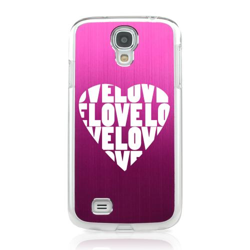 Love Heart - Geeks Designer Line Laser Series Hot Pink Aluminum on Clear Case for Samsung Galaxy S4