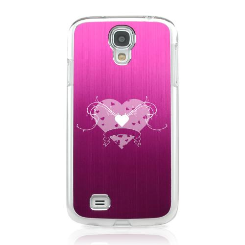 Heart Swirls - Geeks Designer Line Laser Series Hot Pink Aluminum on Clear Case for Samsung Galaxy S4