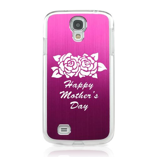 Flower Mother Day - Geeks Designer Line Laser Series Hot Pink Aluminum on Clear Case for Samsung Galaxy S4