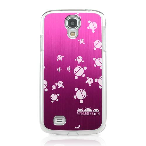 Bubble Bot Invasion - Geeks Designer Line Laser Series Hot Pink Aluminum on Clear Case for Samsung Galaxy S4