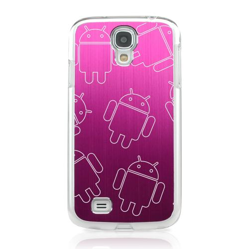 Androitastic - Geeks Designer Line Laser Series Hot Pink Aluminum on Clear Case for Samsung Galaxy S4