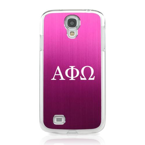 Alpha Phi Omega - Geeks Designer Line Laser Series Hot Pink Aluminum on Clear Case for Samsung Galaxy S4