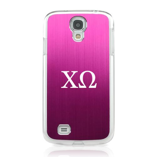 Chi Omega - Geeks Designer Line Laser Series Hot Pink Aluminum on Clear Case for Samsung Galaxy S4