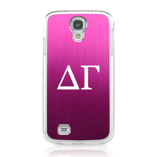 Delta Gamma - Geeks Designer Line Laser Series Hot Pink Aluminum on Clear Case for Samsung Galaxy S4