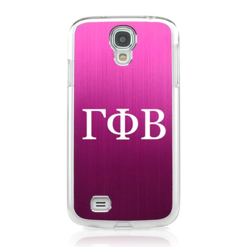 Gamma Phi Beta - Geeks Designer Line Laser Series Hot Pink Aluminum on Clear Case for Samsung Galaxy S4