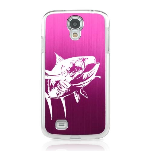 Yellowfin - Geeks Designer Line Laser Series Hot Pink Aluminum on Clear Case for Samsung Galaxy S4