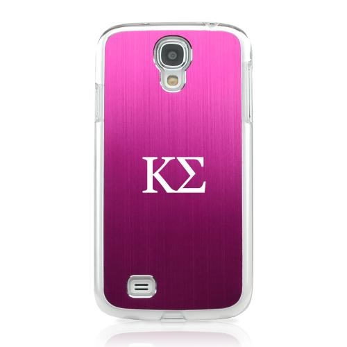 Kappa Sigma - Geeks Designer Line Laser Series Hot Pink Aluminum on Clear Case for Samsung Galaxy S4