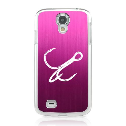 Fish Hook - Geeks Designer Line Laser Series Hot Pink Aluminum on Clear Case for Samsung Galaxy S4