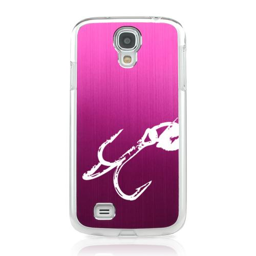 Fish Hook 2.0 - Geeks Designer Line Laser Series Hot Pink Aluminum on Clear Case for Samsung Galaxy S4