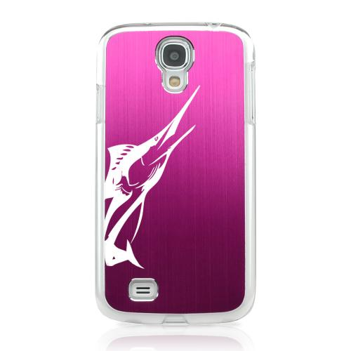 Marlin - Geeks Designer Line Laser Series Hot Pink Aluminum on Clear Case for Samsung Galaxy S4