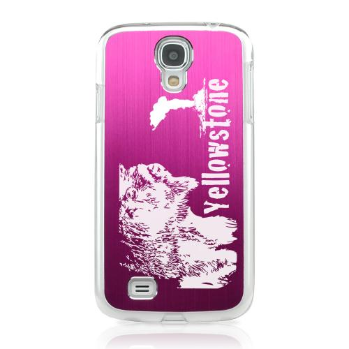 Yellowstone - Geeks Designer Line Laser Series Hot Pink Aluminum on Clear Case for Samsung Galaxy S4