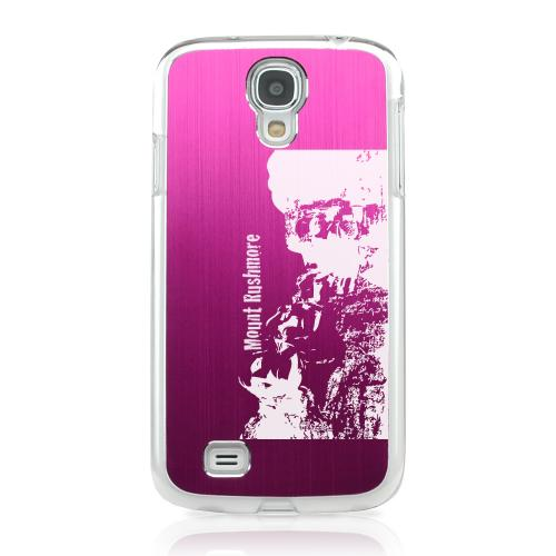 Mount Rushmore - Geeks Designer Line Laser Series Hot Pink Aluminum on Clear Case for Samsung Galaxy S4