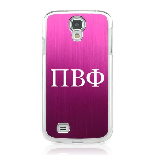 Pi Beta Phi - Geeks Designer Line Laser Series Hot Pink Aluminum on Clear Case for Samsung Galaxy S4