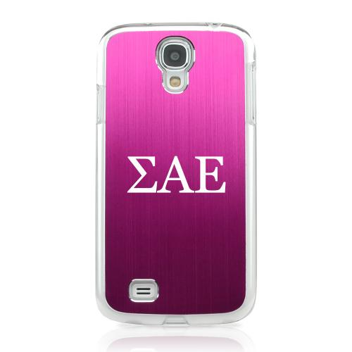 Sigma Alpha Epsilon - Geeks Designer Line Laser Series Hot Pink Aluminum on Clear Case for Samsung Galaxy S4
