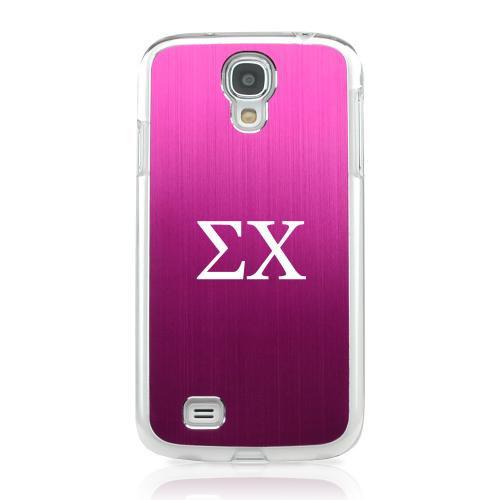 Sigma Chi - Geeks Designer Line Laser Series Hot Pink Aluminum on Clear Case for Samsung Galaxy S4