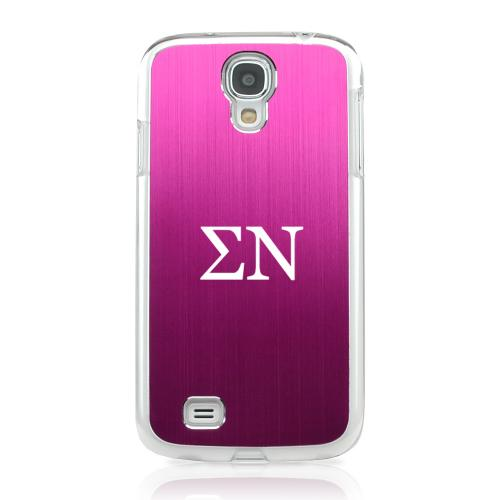 Sigma Nu - Geeks Designer Line Laser Series Hot Pink Aluminum on Clear Case for Samsung Galaxy S4