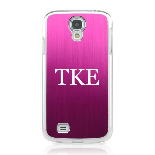 Tau Kappa Epsilon - Geeks Designer Line Laser Series Hot Pink Aluminum on Clear Case for Samsung Galaxy S4