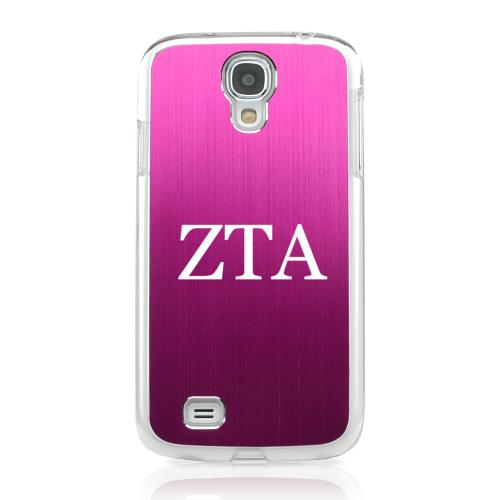 Zeta Tau Alpha - Geeks Designer Line Laser Series Hot Pink Aluminum on Clear Case for Samsung Galaxy S4