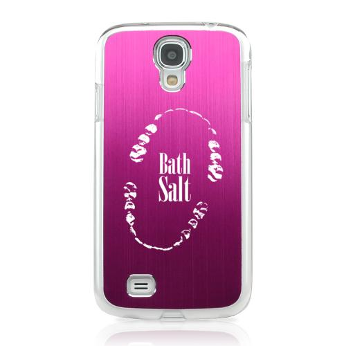 Bath Salt Teeth - Geeks Designer Line Laser Series Hot Pink Aluminum on Clear Case for Samsung Galaxy S4