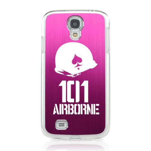 101st Airborne - Geeks Designer Line Laser Series Hot Pink Aluminum on Clear Case for Samsung Galaxy S4