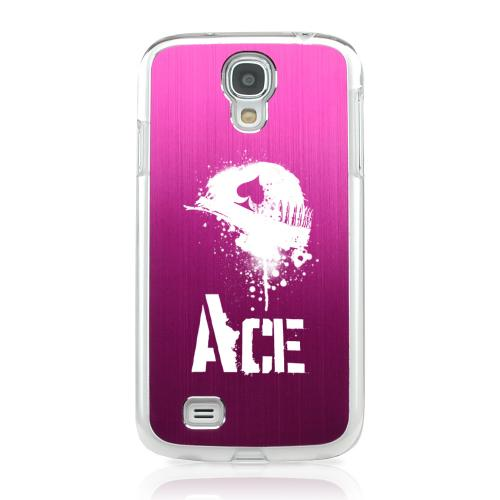 Ace Helmet - Geeks Designer Line Laser Series Hot Pink Aluminum on Clear Case for Samsung Galaxy S4
