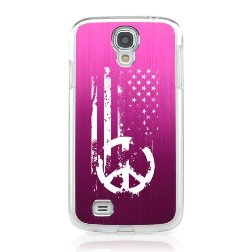 Grunge Flag - Geeks Designer Line Laser Series Hot Pink Aluminum on Clear Case for Samsung Galaxy S4