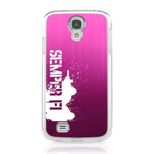 Marine - Geeks Designer Line Laser Series Hot Pink Aluminum on Clear Case for Samsung Galaxy S4