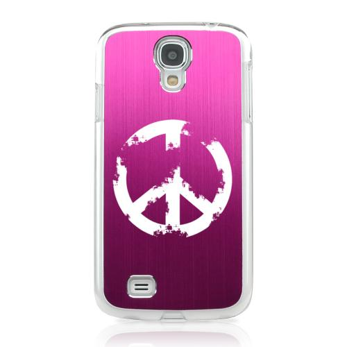 Grunge Peace Sign - Geeks Designer Line Laser Series Hot Pink Aluminum on Clear Case for Samsung Galaxy S4