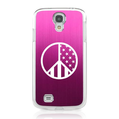 U.S. Peace Sign - Geeks Designer Line Laser Series Hot Pink Aluminum on Clear Case for Samsung Galaxy S4