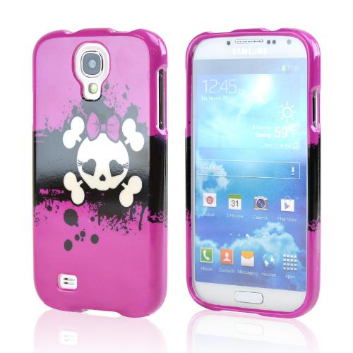 Hot Pink Skull w/ Bow Hard Case for Samsung Galaxy S4
