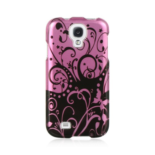 Black Swirl Design on Purple Hard Case for Samsung Galaxy S4
