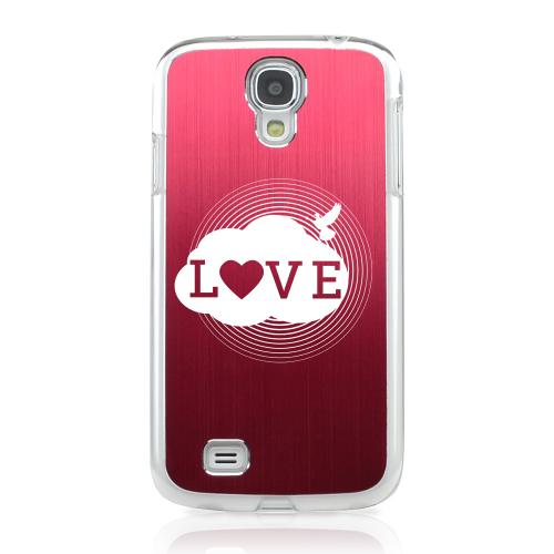 Love Cloud - Geeks Designer Line Laser Series Red Aluminum on Clear Case for Samsung Galaxy S4