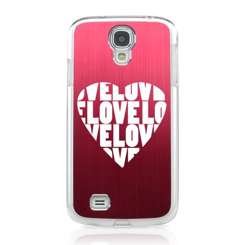 Love Heart - Geeks Designer Line Laser Series Red Aluminum on Clear Case for Samsung Galaxy S4