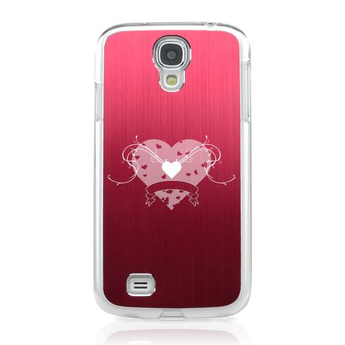 Heart Swirls - Geeks Designer Line Laser Series Red Aluminum on Clear Case for Samsung Galaxy S4