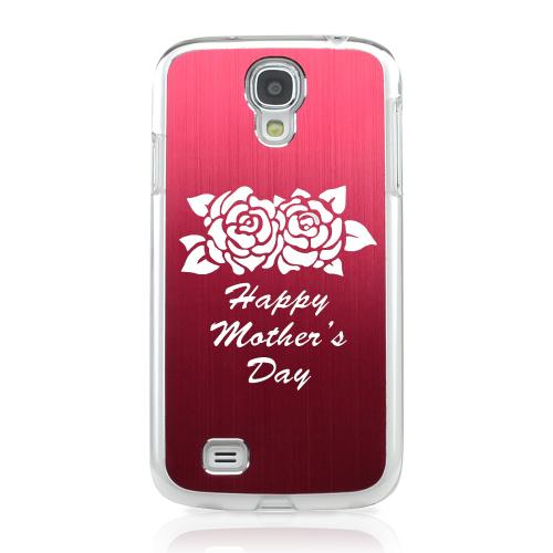 Flower Mother Day - Geeks Designer Line Laser Series Red Aluminum on Clear Case for Samsung Galaxy S4