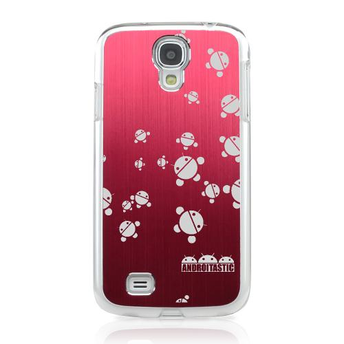 Bubble Bot Invasion - Geeks Designer Line Laser Series Red Aluminum on Clear Case for Samsung Galaxy S4
