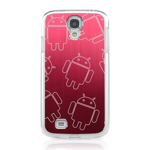Androitastic - Geeks Designer Line Laser Series Red Aluminum on Clear Case for Samsung Galaxy S4