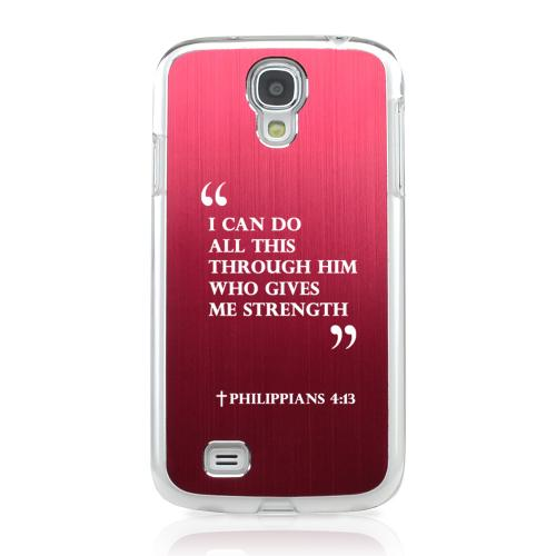 Philippians 4:13 - Geeks Designer Line Laser Series Red Aluminum on Clear Case for Samsung Galaxy S4