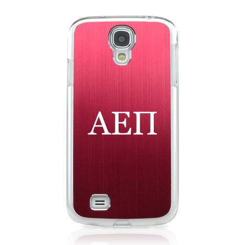 Alpha Epsilon Pi - Geeks Designer Line Laser Series Red Aluminum on Clear Case for Samsung Galaxy S4