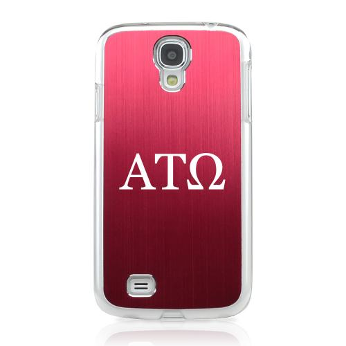 Alpha Tau Omega - Geeks Designer Line Laser Series Red Aluminum on Clear Case for Samsung Galaxy S4